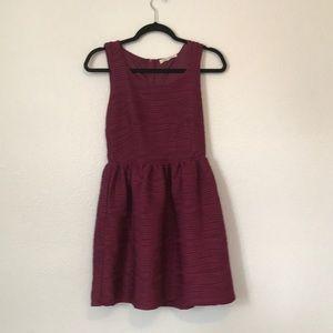 Rewind Dresses - Red Burgundy fit and flare jewel neckline dress